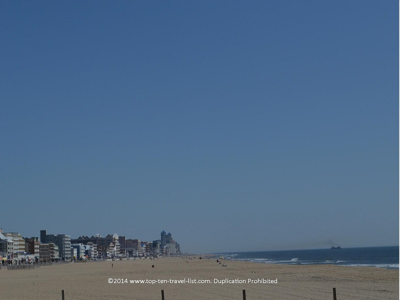 Beach and boardwalk views in Ocean City, Maryland