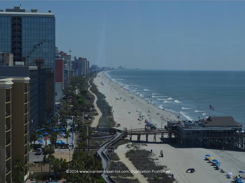 Beach and boardwalk views from Myrtle Beach's Skywheel
