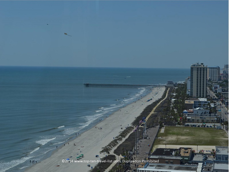 A view of the boardwalk and beach from Myrtle Beach's SkyWheel
