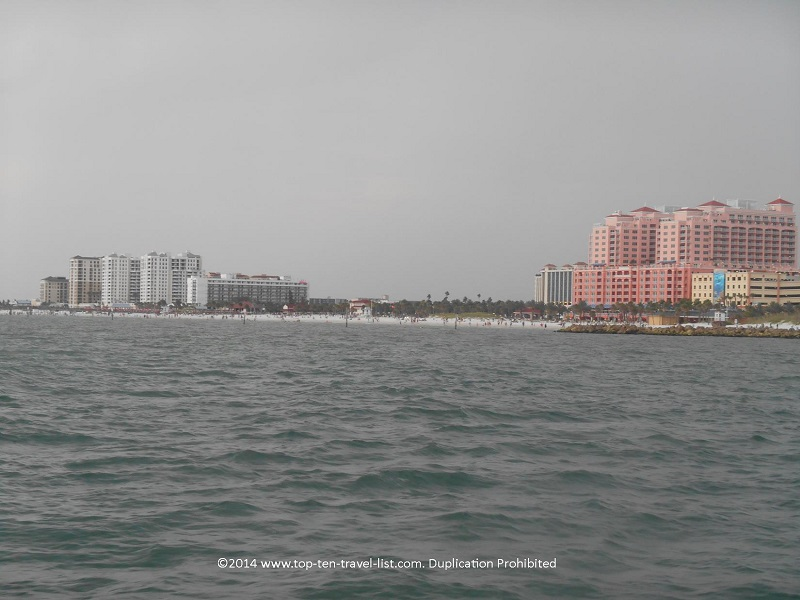 A view of Clearwater Beach from the Tropics Boat cruise
