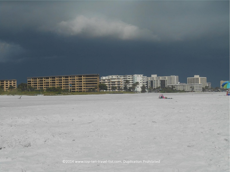 Dark storm clouds at Sarasota's Siesta Key Beach