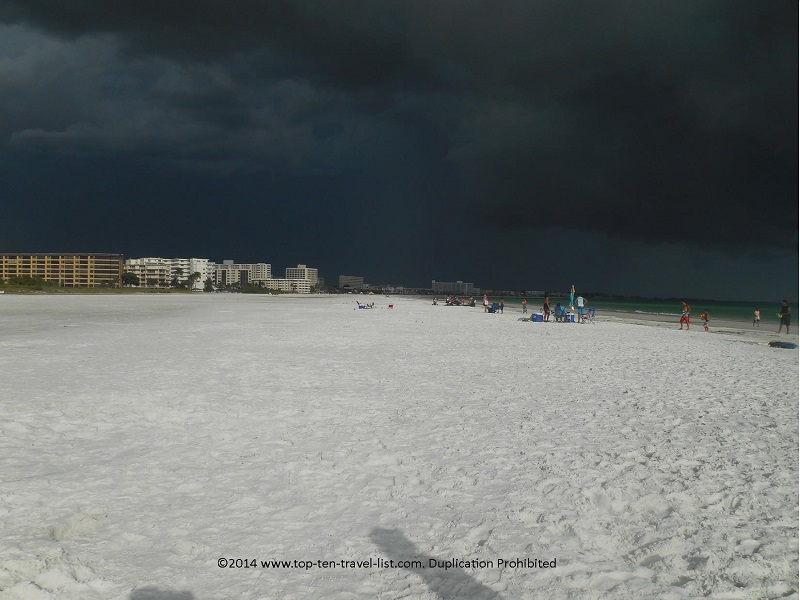 Extremely dark clouds on Sarasota's Siesta Key Beach