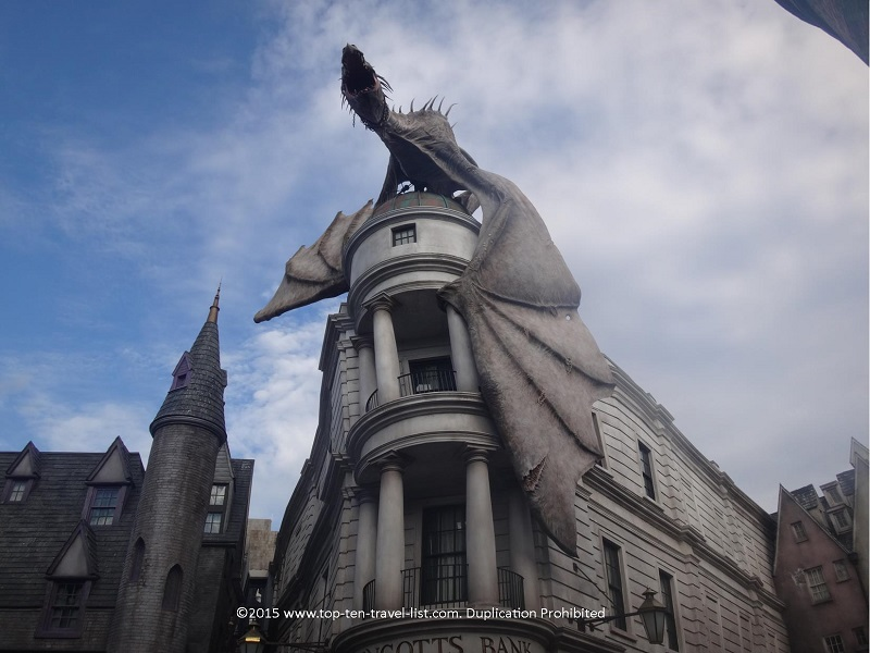 The Gringotts bank dragon blows real fire several times each hour.