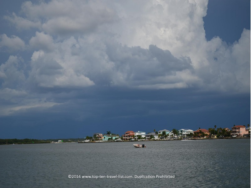 Gorgeous colorful homes lining the coast - Hubbard's Marina cruise in Madeira Beach, Florida