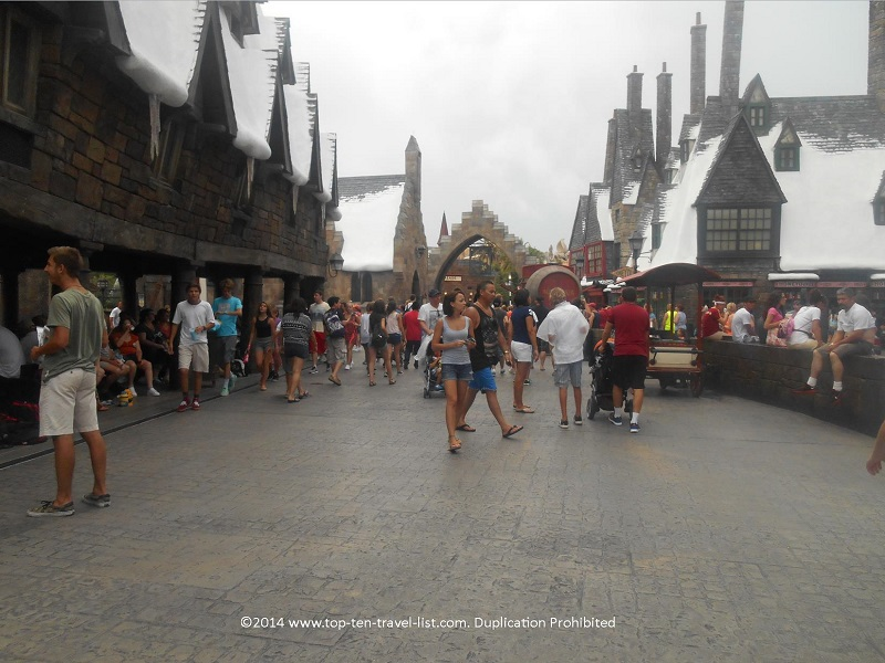 The Wizarding World of Harry Potter on a slower spring day at he park. Much more comfortable, crowd and weatherwise!