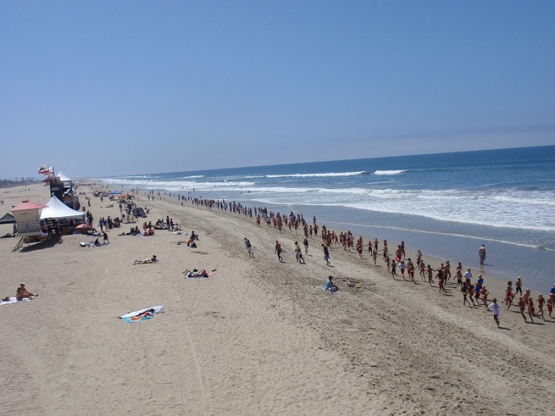 Lifeguard training day at Huntington Beach - Southern California