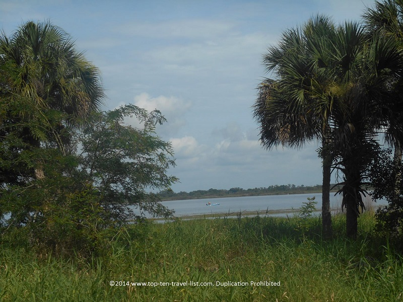 Views of a kayerk on the lake at Myakka River State Park in Sarasota, Florida