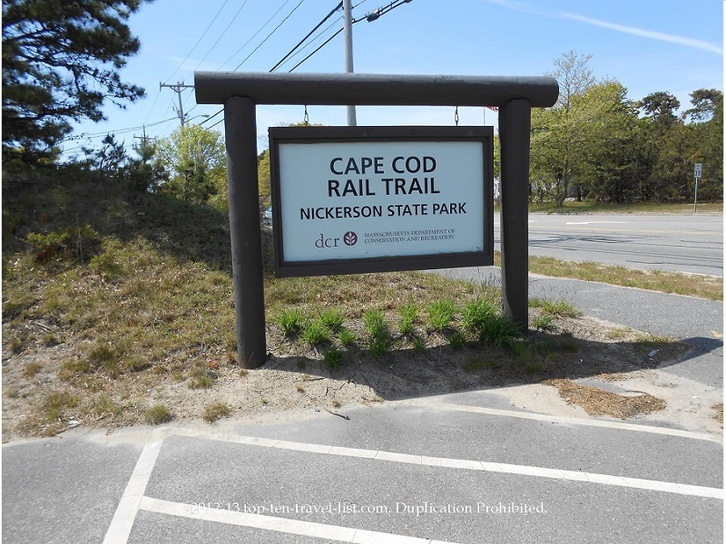 Cape Cod Rail Trail sign at the start - South Dennis, MA