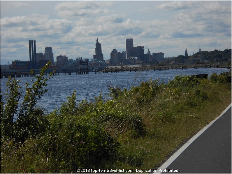 Providence skyline as seen from the East Bay Bike Path