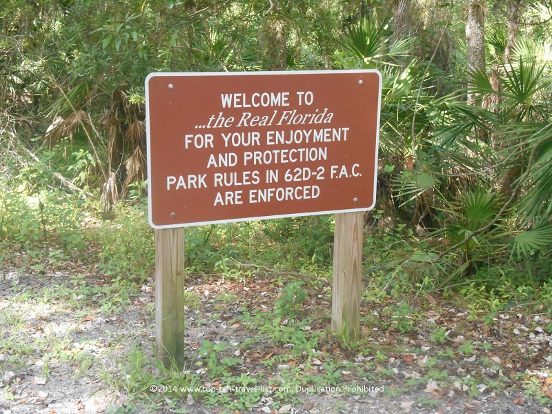 The Real Florida sign at Myakka River State park in Sarasota, Florida