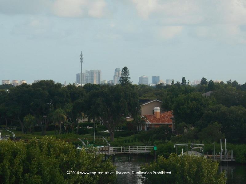 St. Petersburg skyline from the observation tower at Weedon Island Preserve
