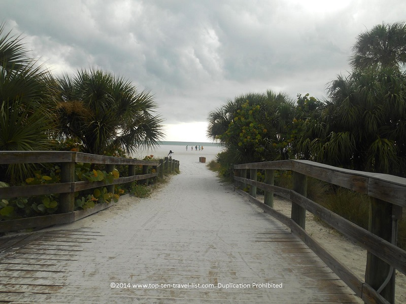 Tropical entrance to Siesta Key Beach in Sarasota, Florida