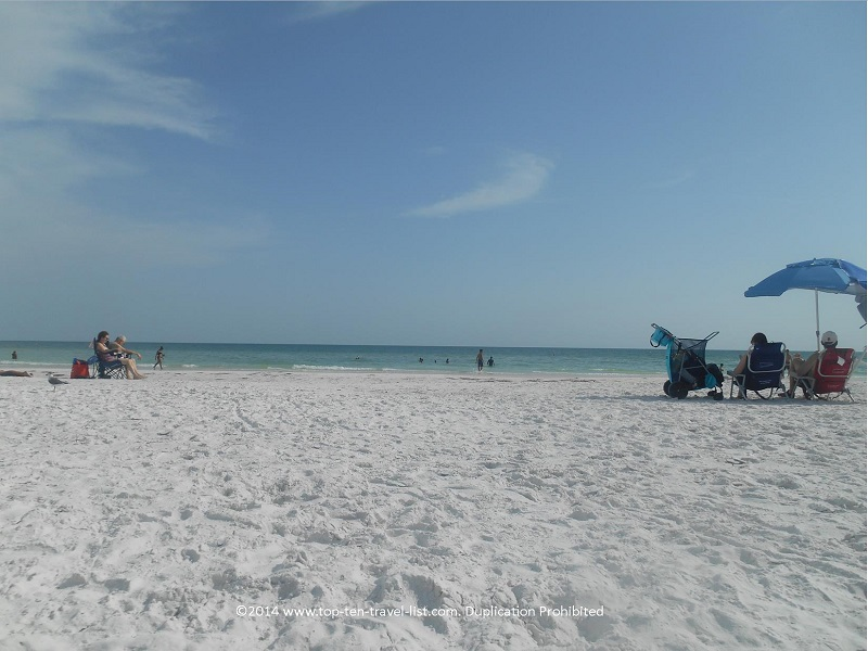 Gorgeous smooth white sand at Siesta Key Beach in Sarasota, FL