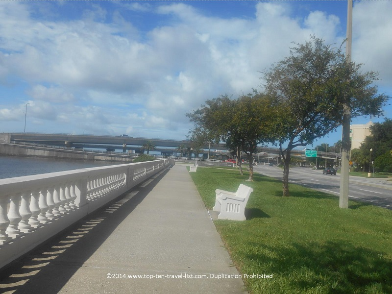Bench on Tampa's Bayshore Blvd. path