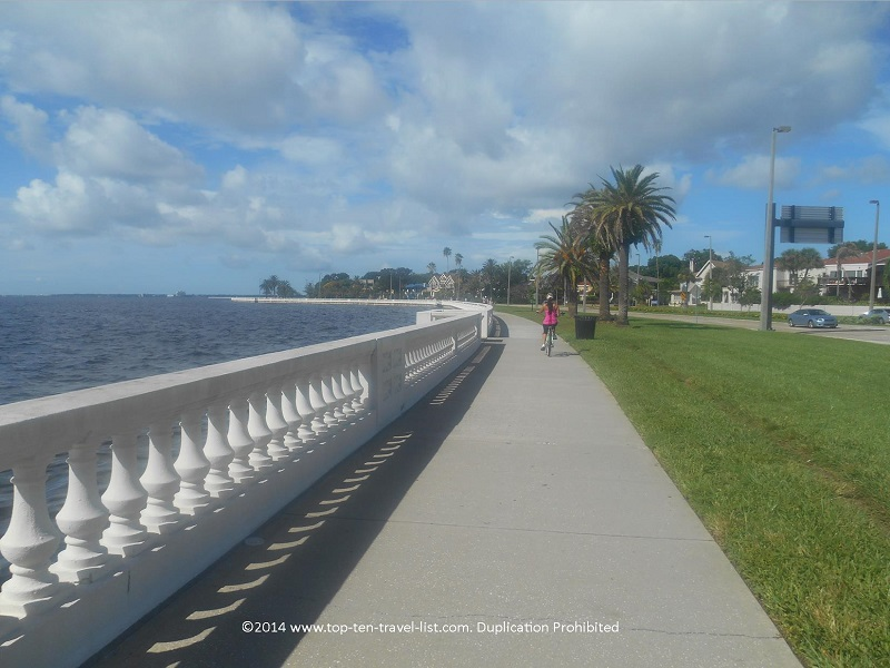 Biker on Tampa's Bayshore Blvd. path