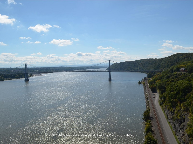 Scenic river and bridge views from the Walkway Over the Hudson in New York