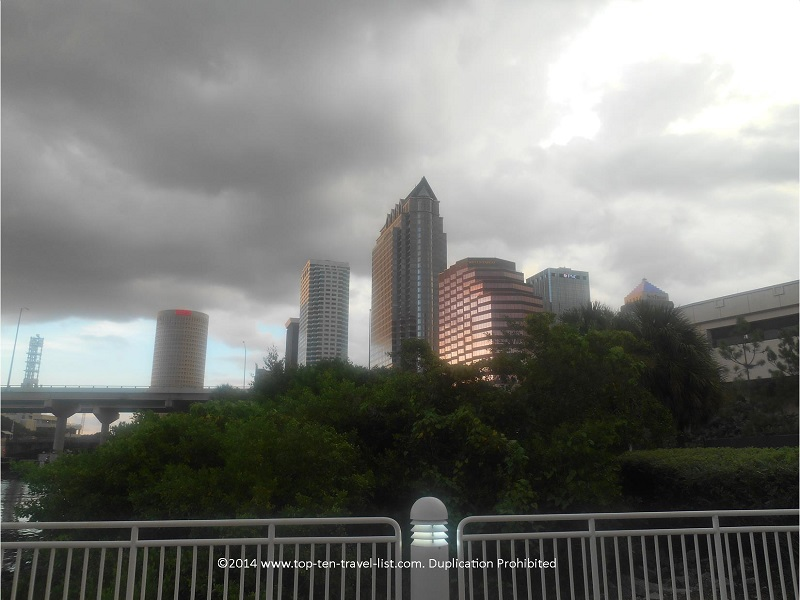Views of the Tampa skyline from the downtown RiverWalk