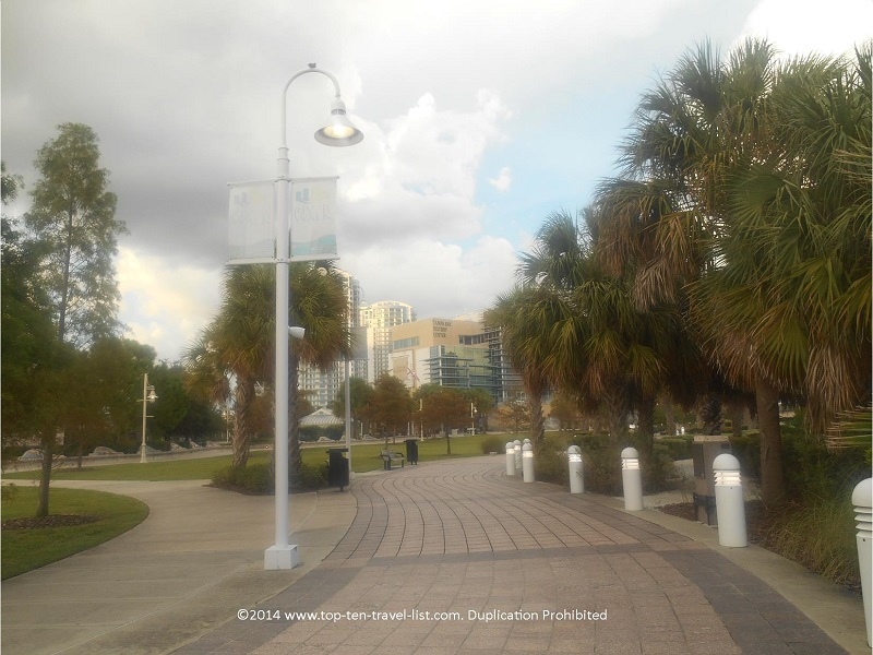 Nicely landscaped downtown Tampa Riverwalk