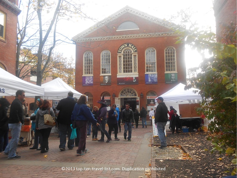 Old Town Hall in Salem, Massachusetts around Halloween