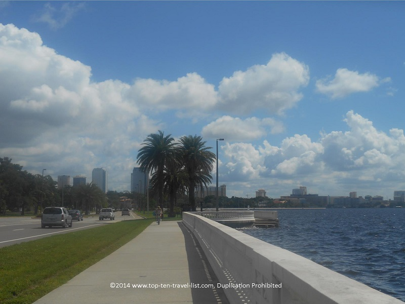 Views of the Tampa skyline from the Bayshore Blvd. path
