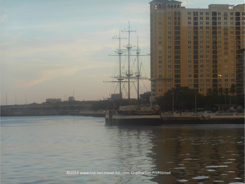 Pirate ship seen while walking the downtown Tampa Riverwalk
