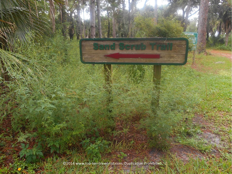 Sand Scrub Trail sign at Boyd Hill Nature Preserve in St. Petersburg, Florida