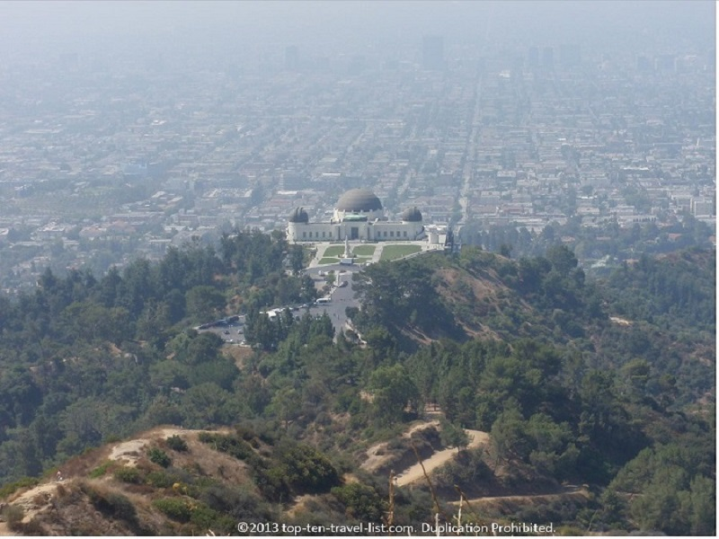 Scenic view of the Griffith Observatory from the hiking trail - Los Angeles, California