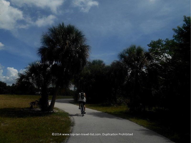 Biking the Fort De Soto Park recreation trail in St. Petersburg, Florida