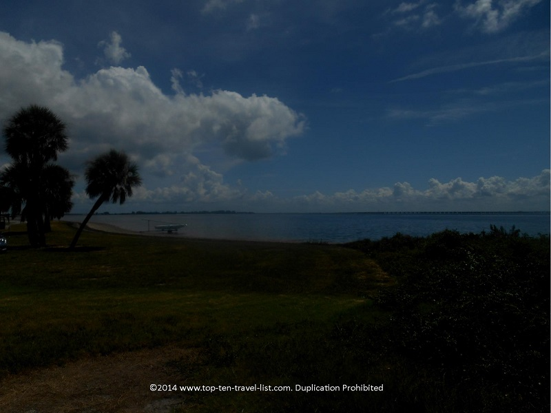 Water views along the Fort De Soto Park recreation trail in St. Petersburg, Florida