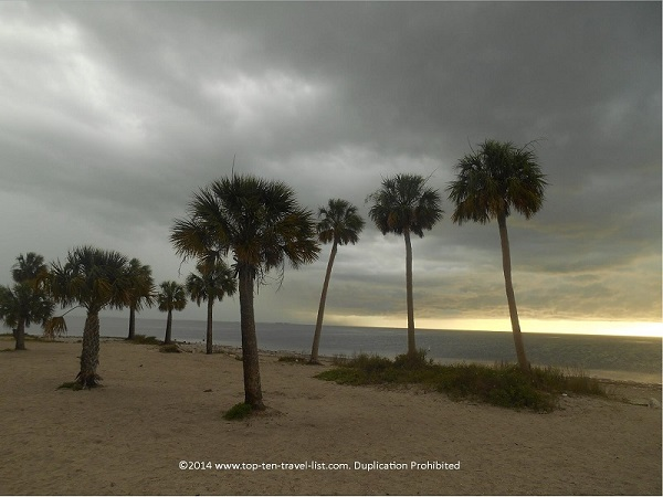 Stormy day at Sunset Beach in Tarpon Springs, Florida