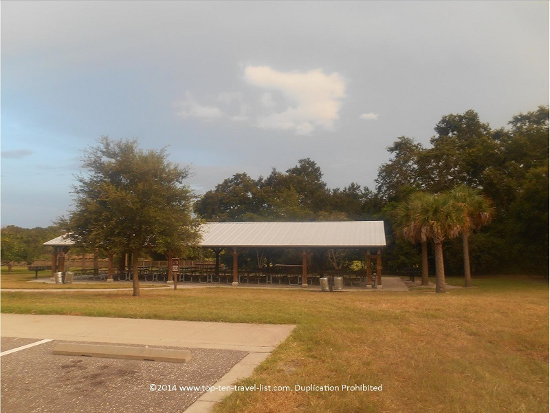 Picnic area at Eagle Lake Park in Largo, Florida