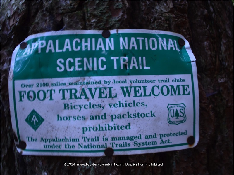 Appalachian Trail sign on the Long Creek Falls Trail in Northern Georgia