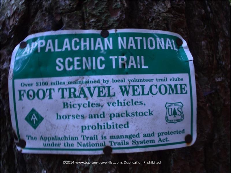 Appalachian Trail sign on the Long Creek Falls Trail in Northern Georgia