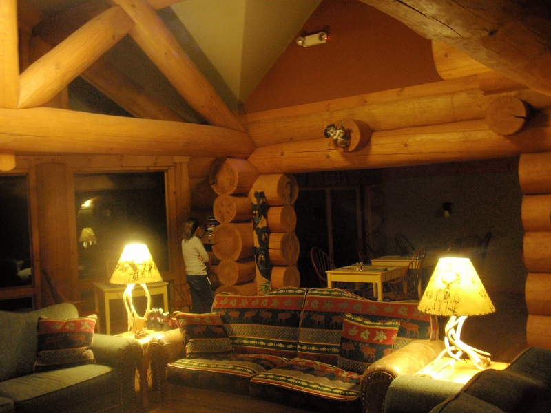 Cozy lobby of Bear Mountain Lodge in New Hampshire's White Mountains