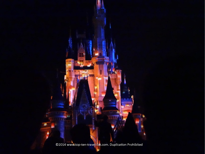 Candy corn projections on the Magic Kingdom castle