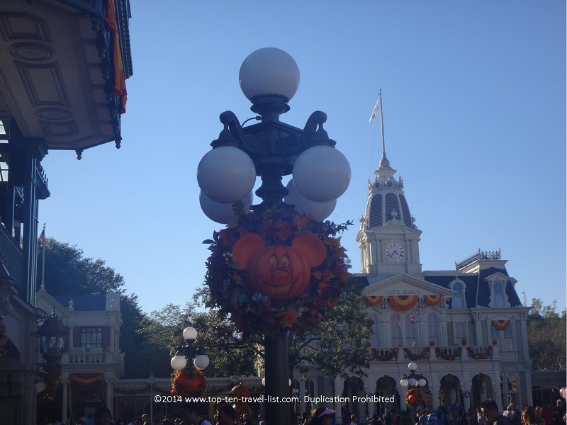 Mickey Halloween wreaths at the Magic Kingdom