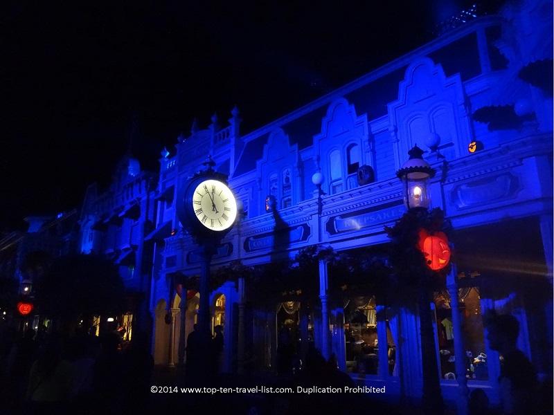 Main Street Halloween decor at Mickey's Not So Scary Halloween Party at the Magic Kingdom