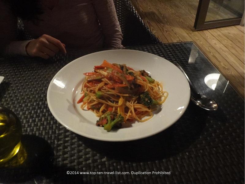 Gluten free pasta dish at the Omni Hilton Head Oceanfront Resort - Hilton Head Island, South Carolina