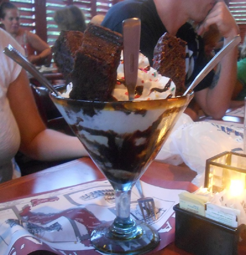 Enormous ice cream sundae at Massachusetts Italian restaurant Mamma Mia's