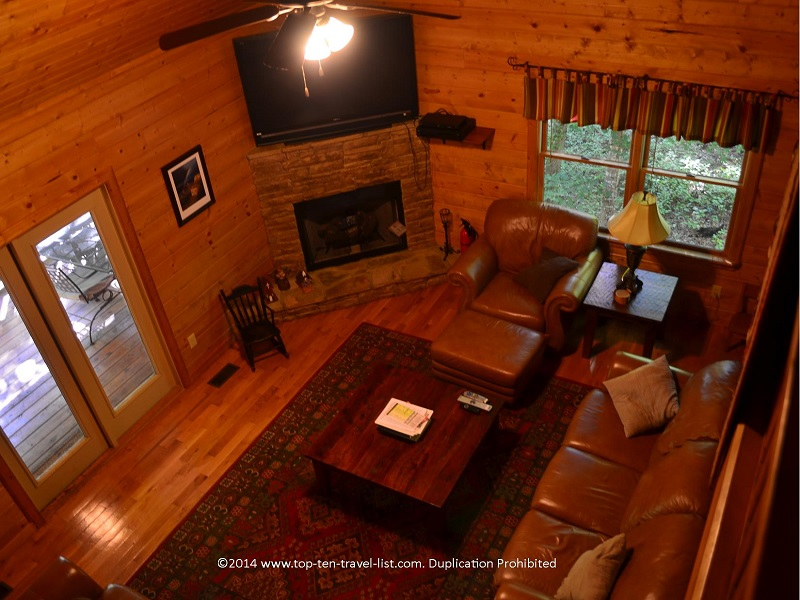 Rustic living room of Appalachian Promise - Mount Laurel Cabin Rentals in Blue Ridge, Georgia