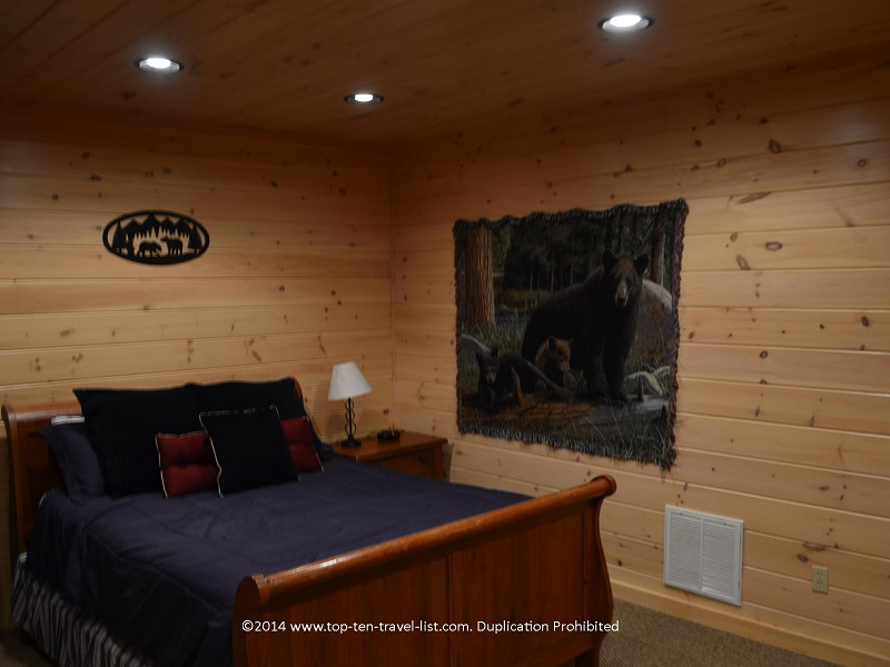 Rustic themed bedroom - Mount Laurel Cabin Rentals in Blue Ridge, Georgia