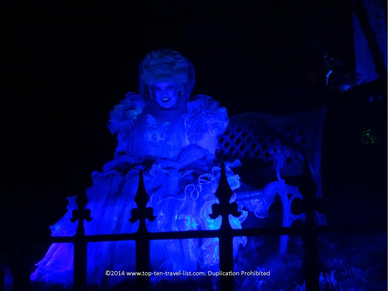 Madame Carlotta in front of the Haunted Mansion for Mickey's Not So Scary Halloween Party at the Magic Kingdom
