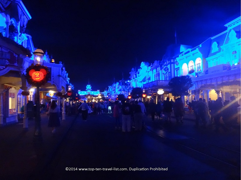 Magic Kingdom's Main Street lit up blue for Mickey's Not So Scary Halloween Party