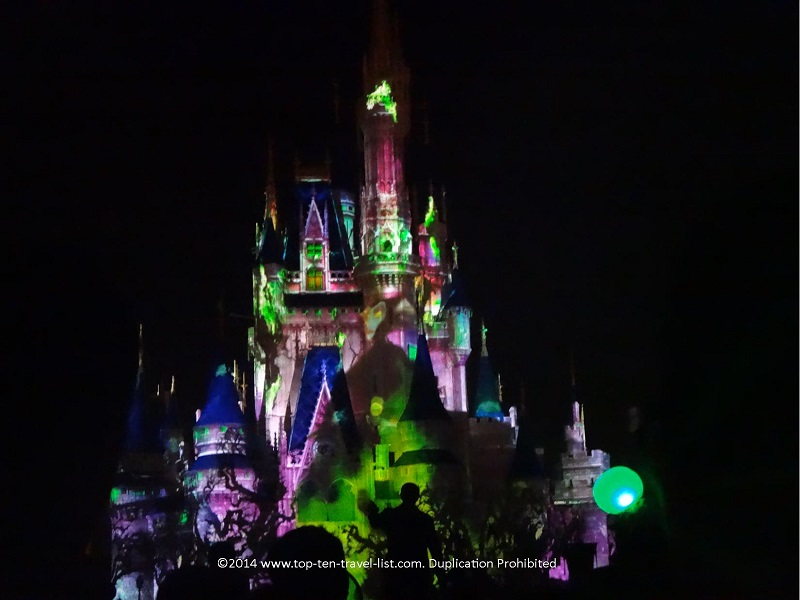 Maleficient projection on the Magic Kingdom castle