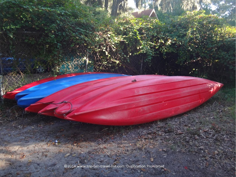 Kayaks lined up at Kayak Hilton Head in South Carolina