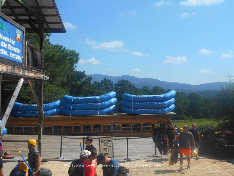 Rafts lined up at Wildwater Ocoee  Tennessee