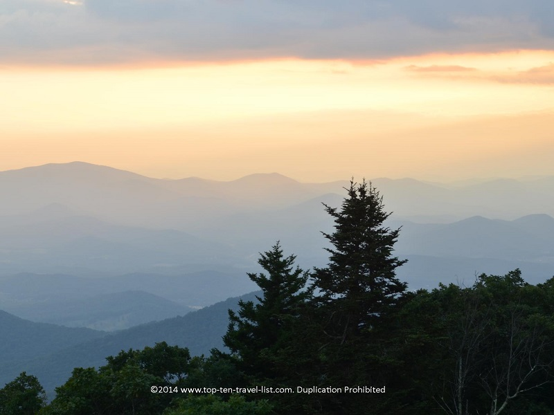 Scenic views of the mountains from Brasstown Bald in Northern Georgia