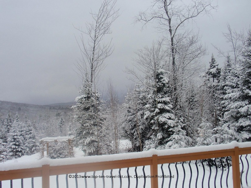 Gorgeous snowy views at Bear Mountain Lodge in Bethlehem, New Hampshire