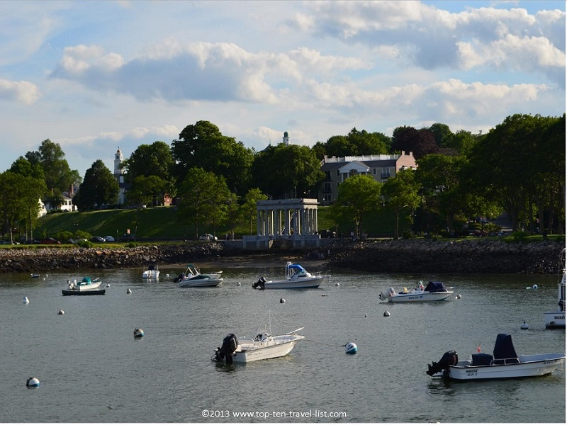A view of Plymouth Rock from a whale watching cruise