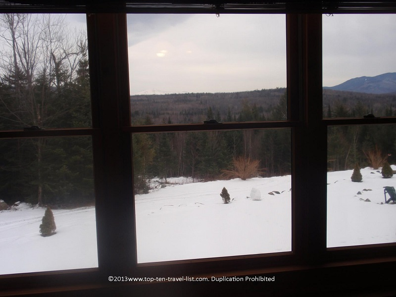Mountain views from a guest room at Bear Mountain Lodge in New Hampshire